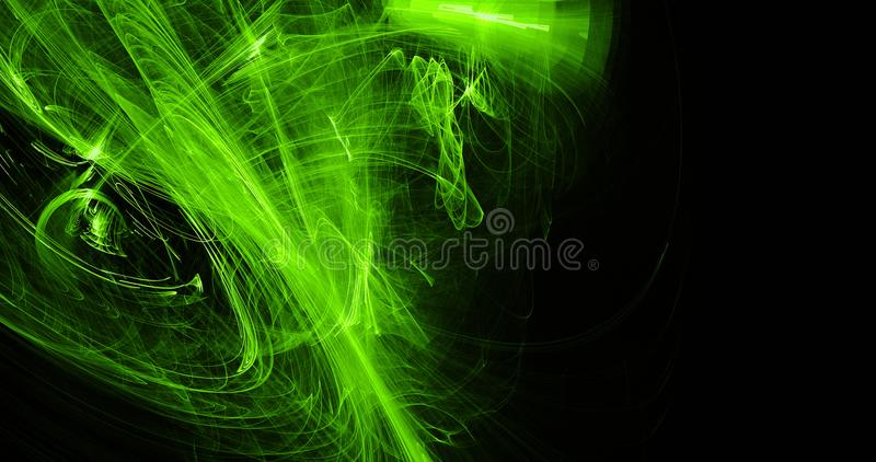 Green Abstract Lines Curves Particles Background. Abstract Design In Green Lines Curves Particles On Dark Background stock illustration