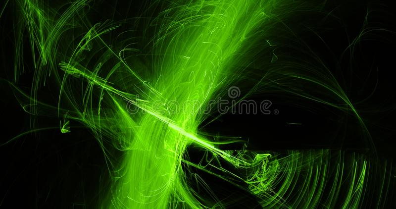 Green Abstract Lines Curves Particles Background. Abstract Design In Green Lines Curves Particles On Dark Background royalty free illustration