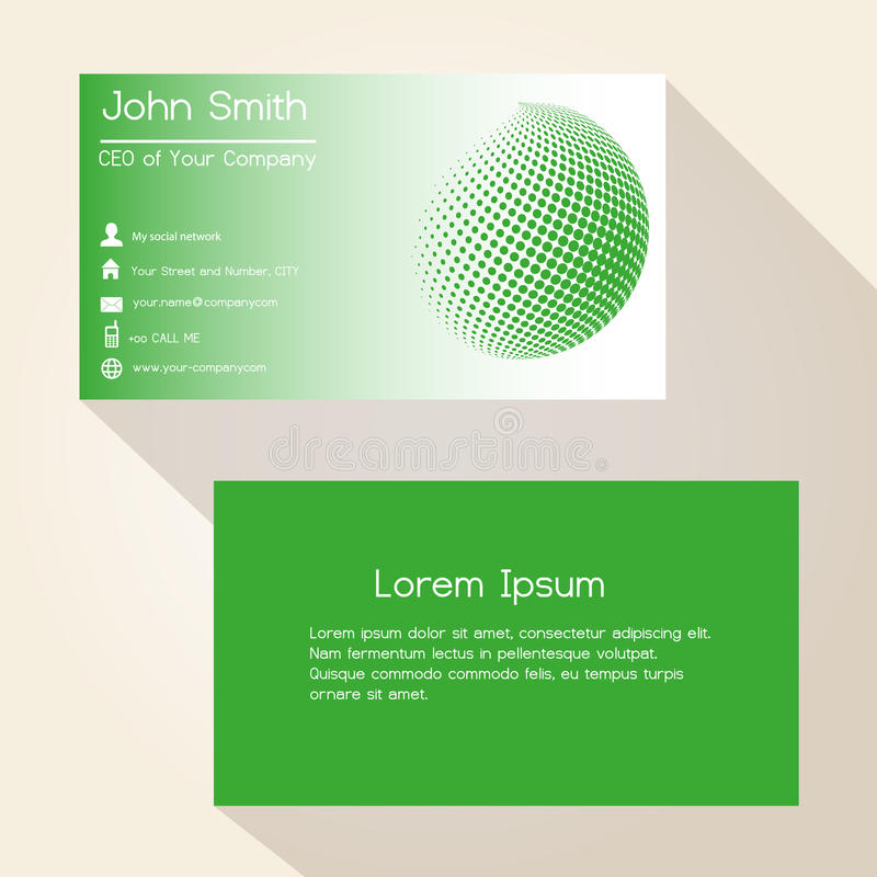 Green abstract sphere from dots business card design eps10 vector illustration