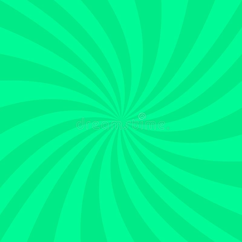 Green abstract spiral background - vector design from spinning rays vector illustration
