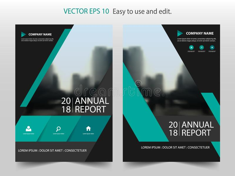 Green abstract triangle annual report Brochure design template vector. Business Flyers infographic magazine poster. royalty free illustration
