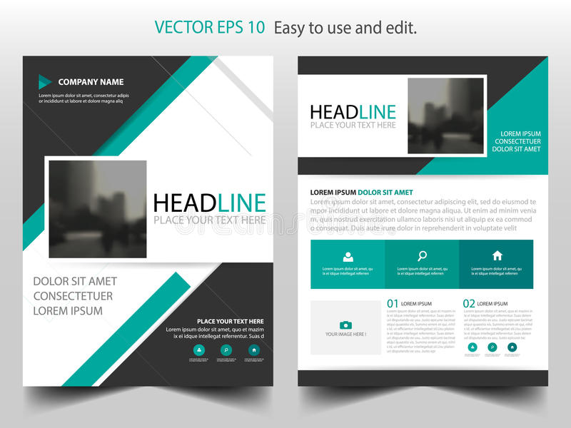 Green abstract triangle annual report Brochure design template vector. Business Flyers infographic magazine posterm vector illustration