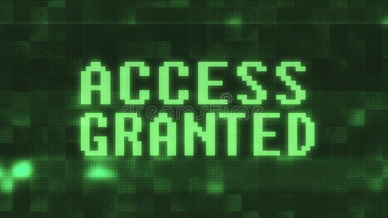 Green access granted text on digital black lcd screen illustration new quality techology colorful joyful vintage stock. Image royalty free illustration