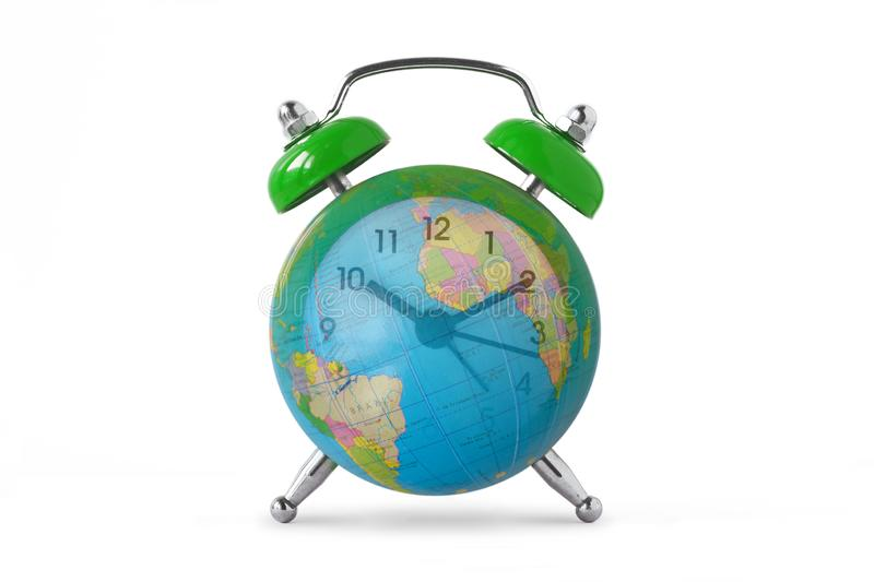 Green alarm clock with earth planet. Ecology and environmental concept royalty free stock image
