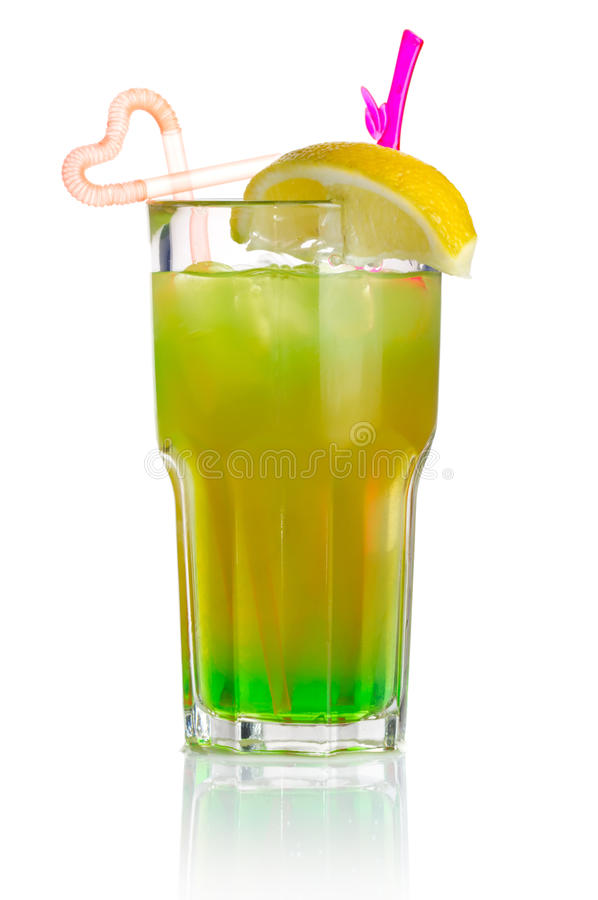 Download Green Alcohol Cocktail With Lemon Slice Isolated Stock Photo - Image: 24923294
