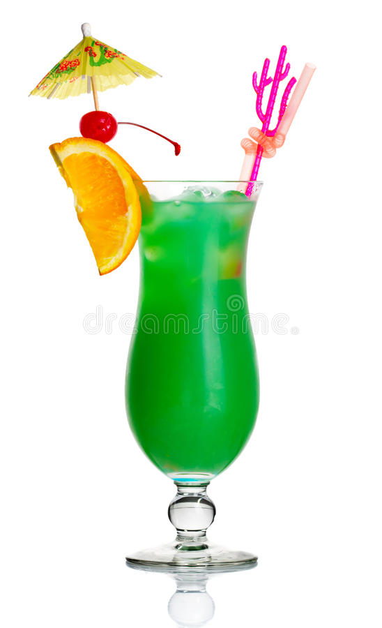 Green Alcohol Cocktail With Orange Slice Isolated Royalty Free Stock Image