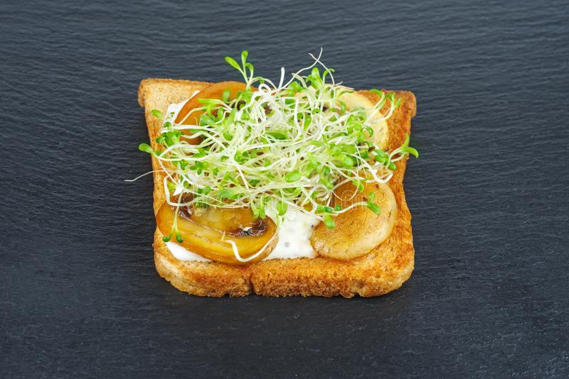 Green alfalfa sprouts, grilled mushrooms on toasted slices of wholegrain bread on black stone slate background stock photos