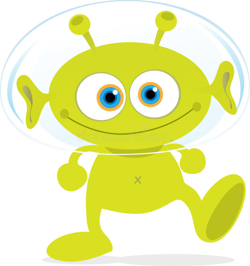 Green Alien. Cartoon Illustration of Walking Green Alien vector illustration