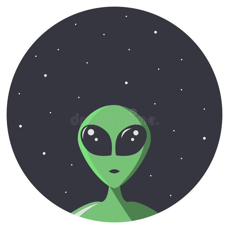 Green alien with big eyes looks at us through the round hole of space with stars. Extraterrestrial  in flat cartoon style for t- vector illustration