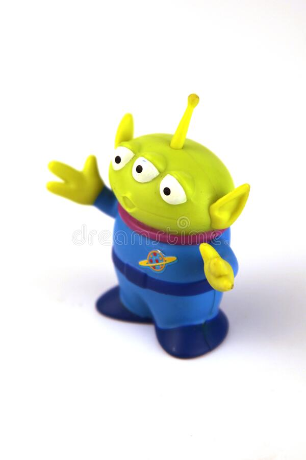 Green alien is a character from the movie series Toy Story. With fine details and in green royalty free stock image