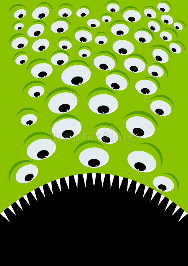 Green Alien Eyes And Mouth Royalty Free Stock Photo