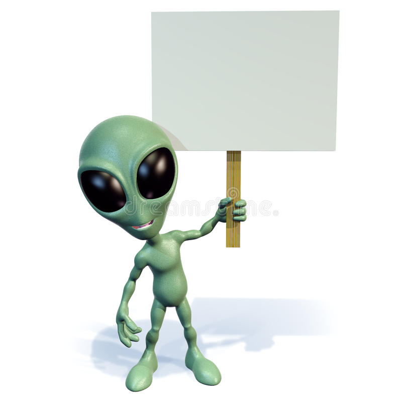 Green alien holding sign royalty free illustration