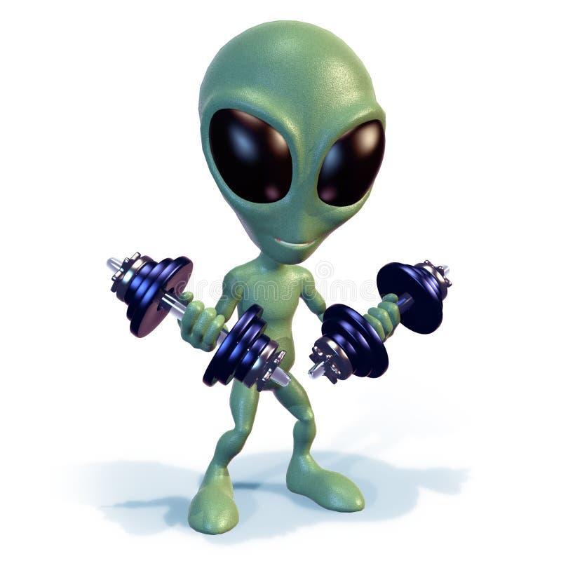 Green alien lifting weights vector illustration