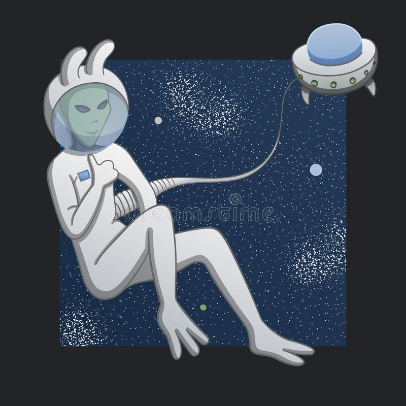 Alien in space stock illustration