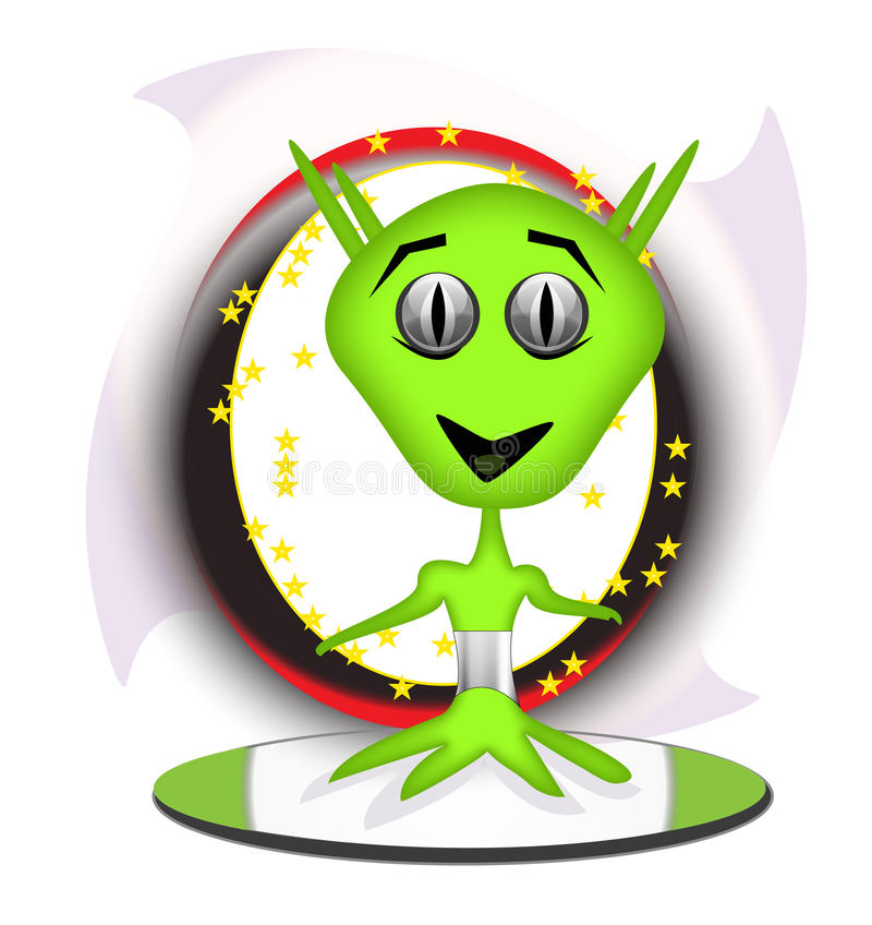 Green alien on surfboard stock images