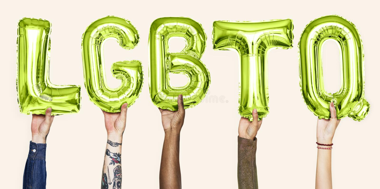 Green alphabet balloons forming the word LGBTQ stock photos