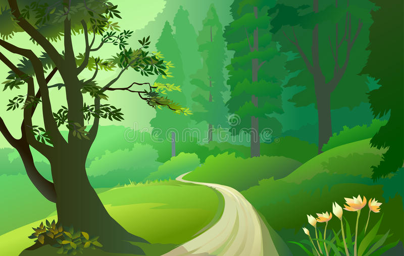 Green Amazon forest with lonely pathway. A stunning scene of green Amazon forest with lonely pathway with its flora and fauna vector illustration
