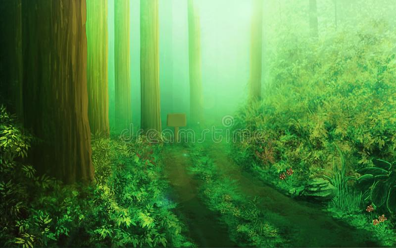 Green Amazon forest with small lonely pathway vector illustration
