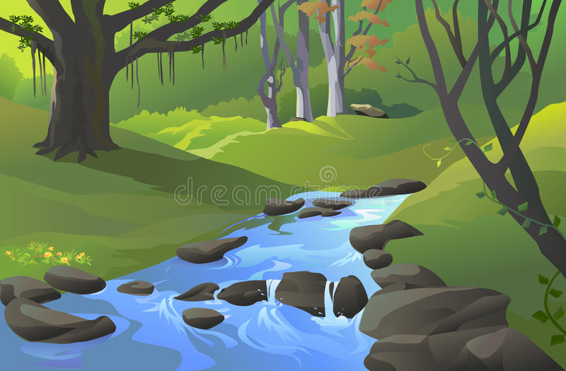 Green Amazon forest with a stream stock illustration