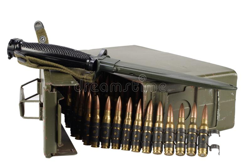 Green Ammo Box with ammunition belt and bayonet. Isolated on white background stock image
