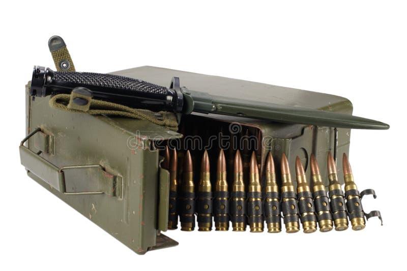 Green Ammo Box with ammunition belt and bayonet. Isolated on white background royalty free stock photo