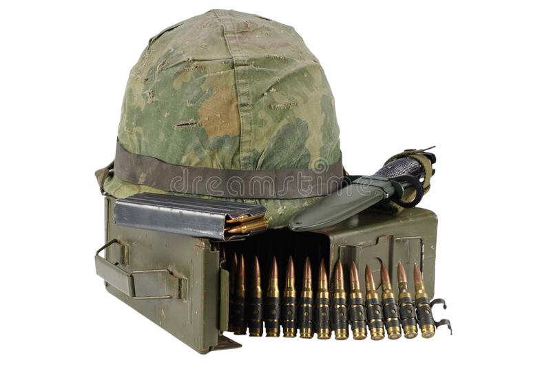 Green Ammo Box with ammunition belt and helmet. Isolated on white background royalty free stock photos