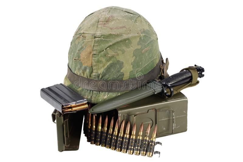 Green Ammo Box with ammunition belt and helmet. Isolated on white background stock photography
