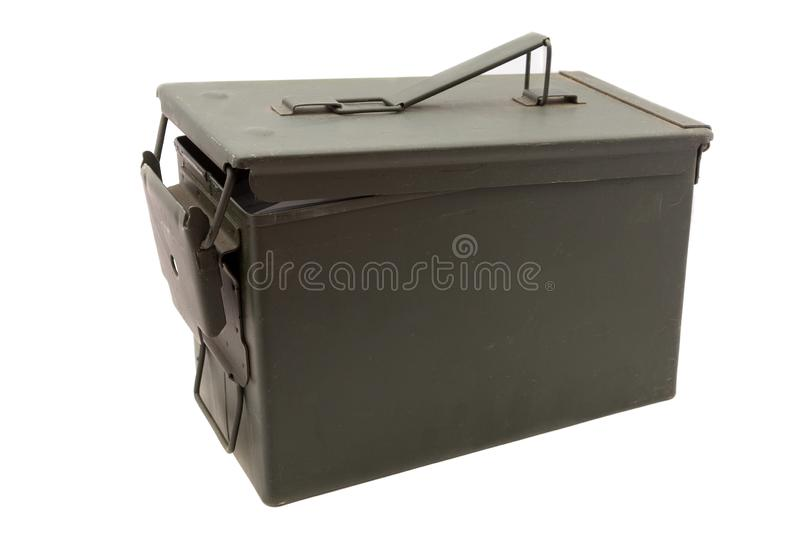 Green ammo box. Green metal ammo box on white background stock photography