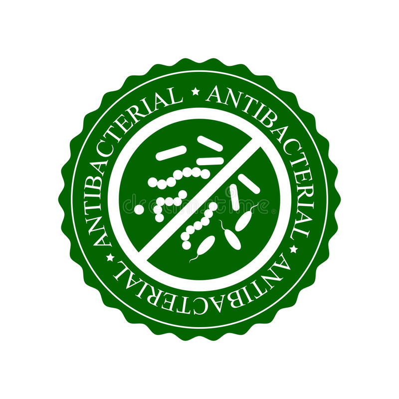 Green Antibacterial Icon, Badge or Label Isolated on White Background. Crossed sign with bacteria royalty free illustration