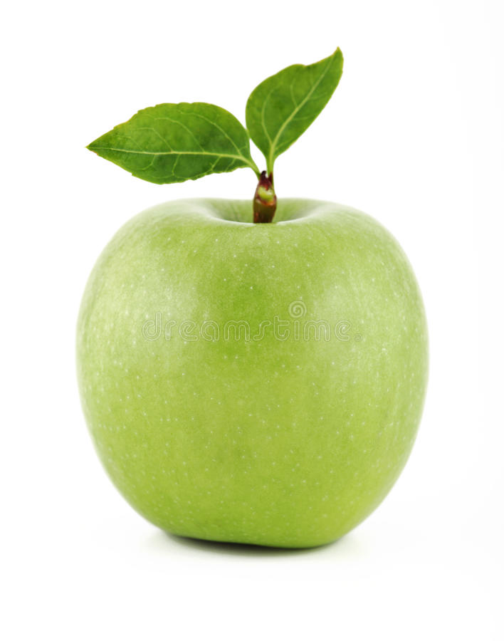 Green apple. Isolated over the white background stock photo