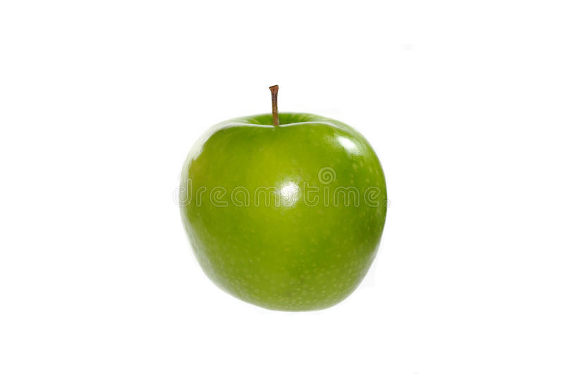Green apple. Single green apple on white background stock photography