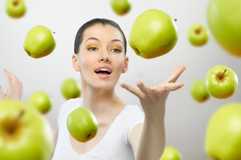 Download Green apple stock photo. Image of woman, healthy, food - 17841040
