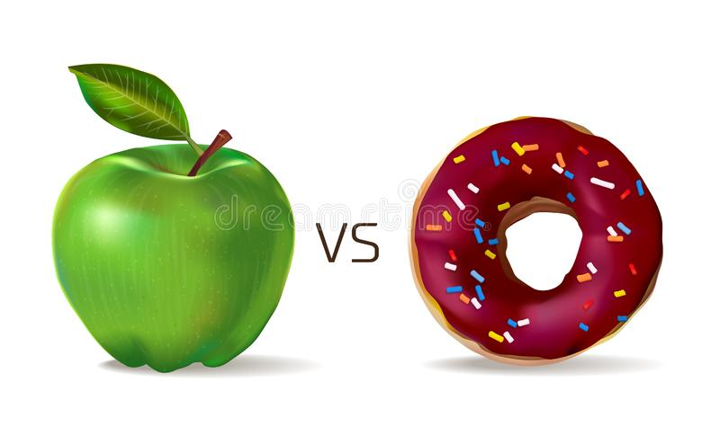 Green apple against sweet chocolate donut. Vegetarianism and healthy lifestyle. Junk food vs healthy vector concept template,. Photo realistic illustration stock illustration