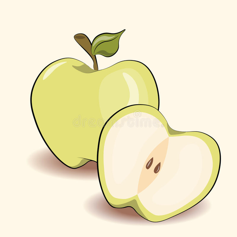 Green apple. With background. Vector illustration vector illustration