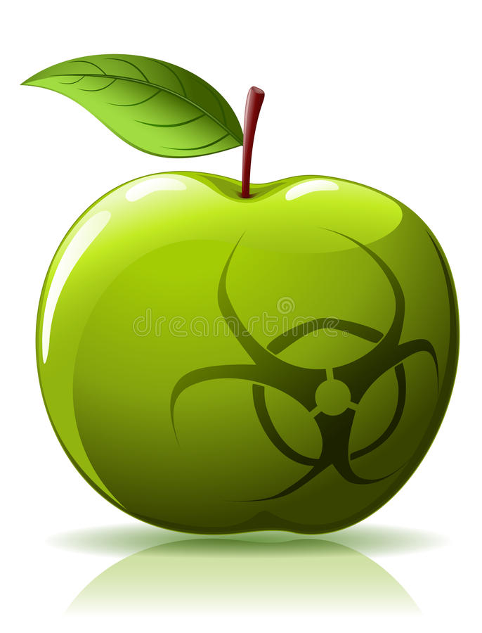 Download Green Apple With Biohazard Sing Stock Vector - Illustration: 15116802