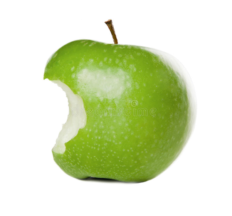Green Apple with bite royalty free stock images