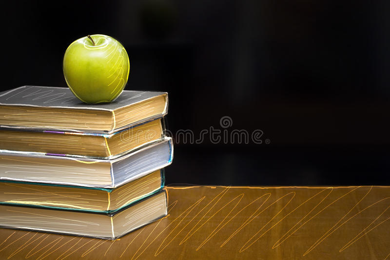 Download Green Apple On The  Book. Blackboard With Sign. Royalty Free Stock Photos - Image: 9918308