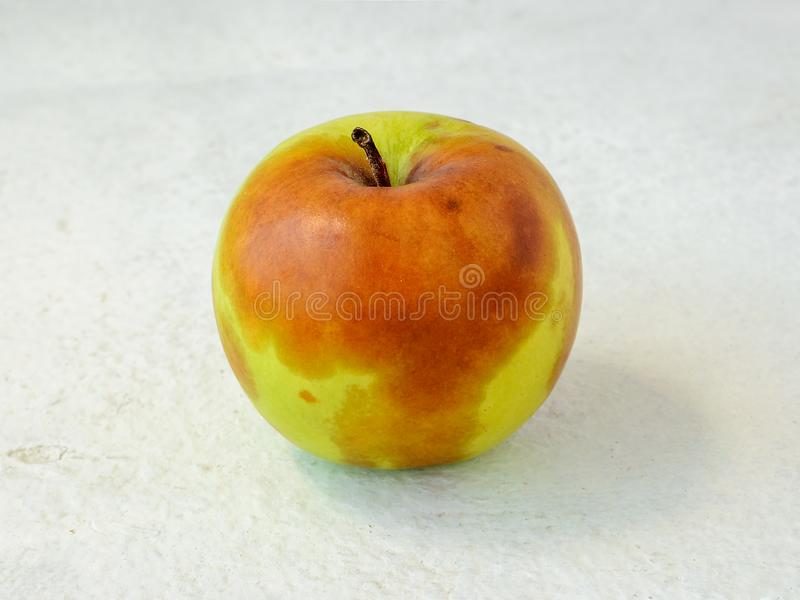 Green apple with brown stains of a rot on a rough white textural background. Spoiled fruits and vegetables. Improper storage of stock image