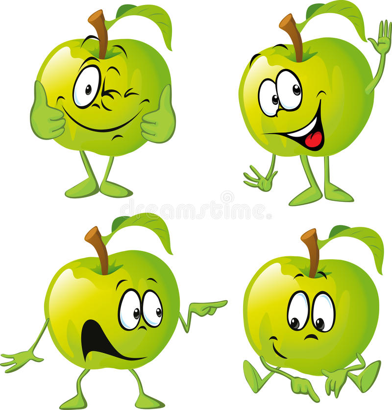 Green apple cartoon with hand stock illustration