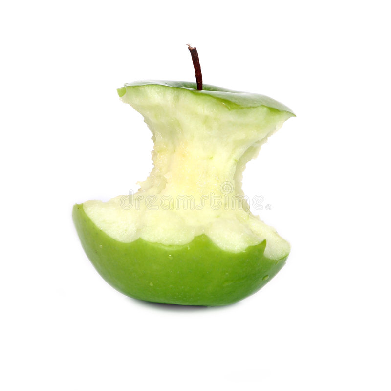 Green Apple Core Royalty Free Stock Image