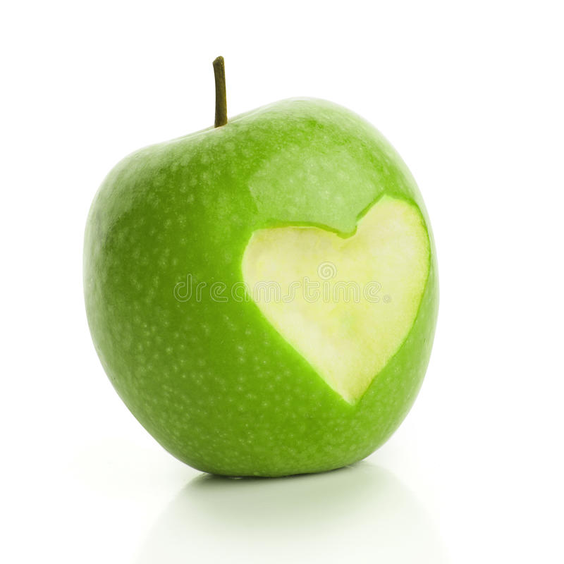 Download Green apple with cut heart stock image. Image of sweet - 37147069