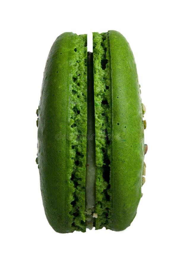Green macaroon on white background royalty free stock photos