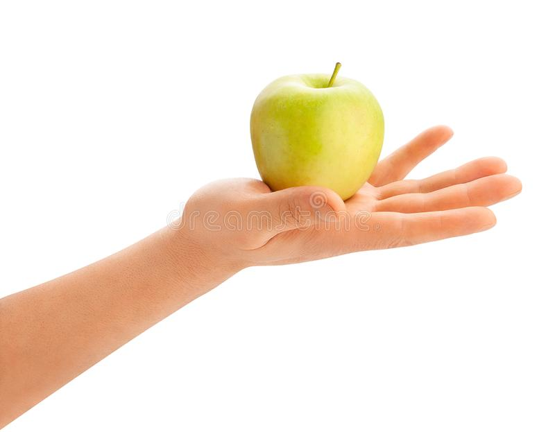 Green apple in hand stock photo