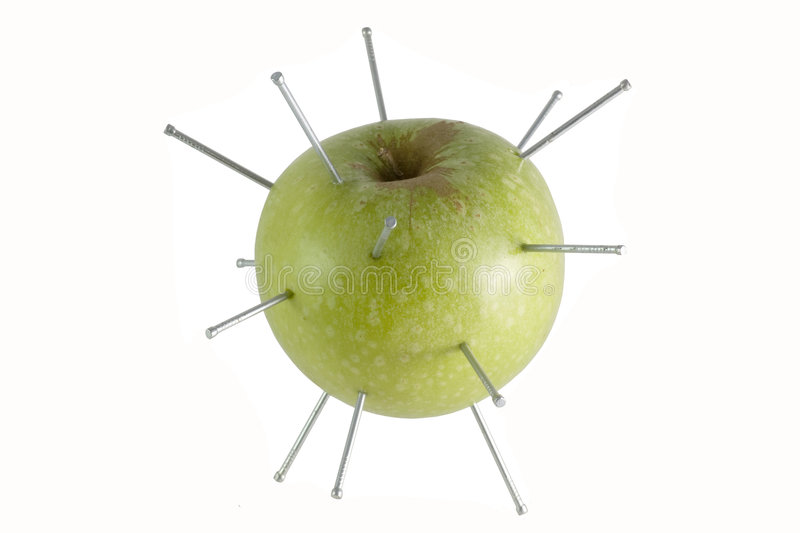 green apple isolated nails stock photography