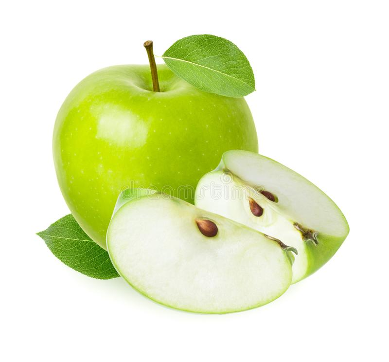 Green Apple isolated. Whole fruit and cut juicy slice with fresh leaf isolated on white background as detail for packaging design stock photos