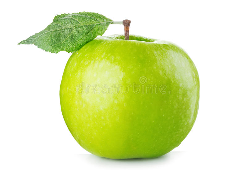 Download Green apple with leaf stock image. Image of healthy, tasty - 26004019