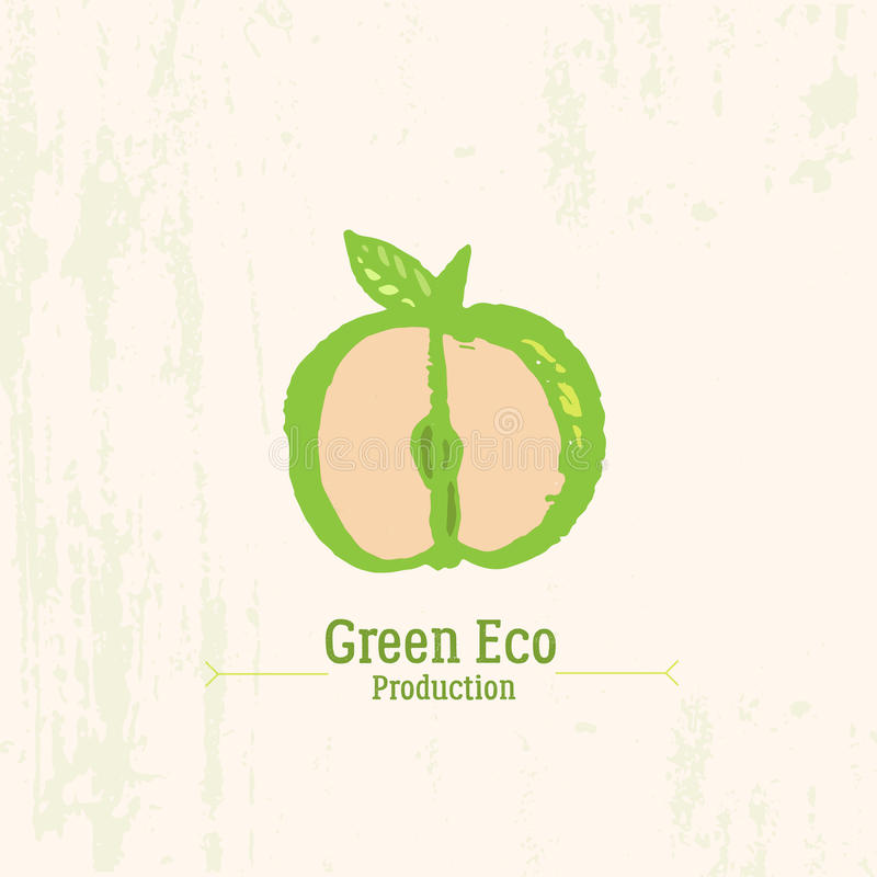 Free Green Apple Logo In Grunge Style On Rustic Background. Stock Image - 65739951