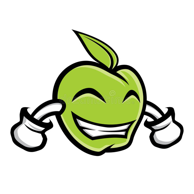 Green apple mascot vector illustration