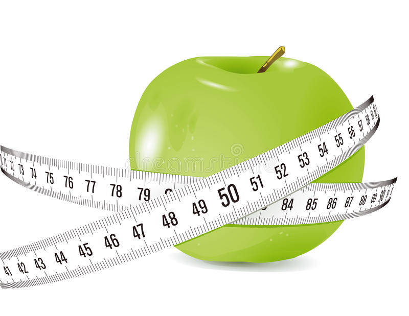 Green Apple and Measuring Tape royalty free illustration