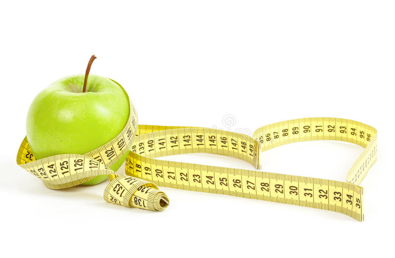Download Green Apple With A Measuring Tape And Heart Symbol Isolated Stock Image - Image: 29199639